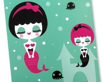 Mermaid Sisters Art Print 8 x 10