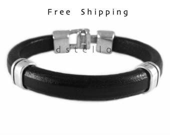 Custom mens leather bracelet - Men's bracelet - Anniversary gifts - Gift for him -   leather - Antique hammered clasp