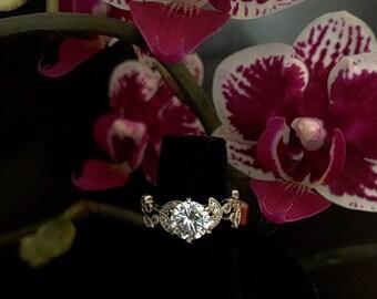 Filigree flower cz promise ring