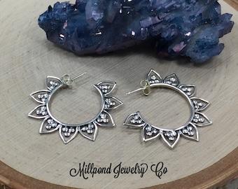 Lotus Petal Hoop Earrings, Earrings to Decorate, Earring Components, Jewelry Making Supplies, Jewelry Findings, 1 Pair, PS01461