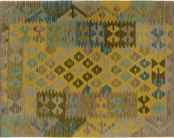 Kilim arya jaquelin gray/gold hand-woven rug (2'8 x 4'2)