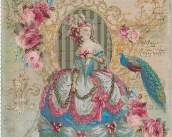 Marie Antoinette with Peacock Shabby Chic Cross Stitch Pattern