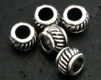 Pewter Silvertone Braided Edge Spacer Bead - Set of 50