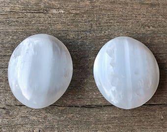 Selenite Palm Stones- large