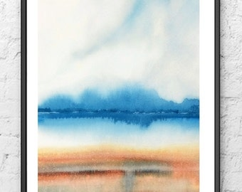 Beach Painting, Beach House Art, Beach Print, Coastal Wall Art, Abstract Landscape Watercolor Painting, Blue Wall Decor, Lake Painting,Cloud