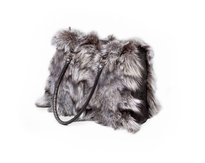 Fox fur tote shoulder handbag F396