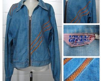 True Vintage 70's Faded Glory by Appendagez Zip Front Denim Jacket Sz L 44