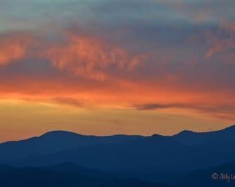 Sunset, Mountain Sunset, North Carolina, Landscape Photography, wall Art, Home Decor, Blue Ridge Mountains, Nature Photography, Smokey Mts