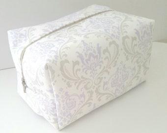 Lavender Damask Makeup Bag - Make up Bag  - Cosmetic Pouch -  Lunch Bag - Wet Bag - Waterproof Bag - Bridesmaid Gifts