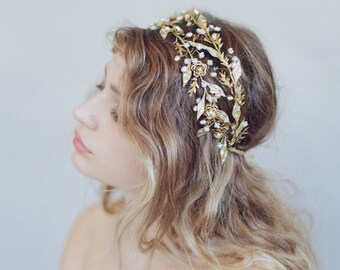Bridal headband - Double band dewdrop leaf headpiece - Style 750 - Made to Order