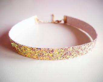 Candy Pink Glitter Choker, Sparkly Pink Glitter Choker Necklace, Light Pink Choker, Pastel Pink Glitter Necklace, Glittered Chokers,