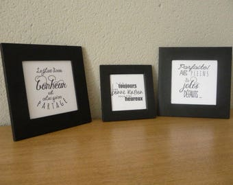 Three frames wood with happiness quote