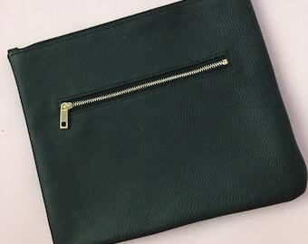 Custom Handmade Zipper Genuine Leather Clutch / iPad Case / Laptop Case