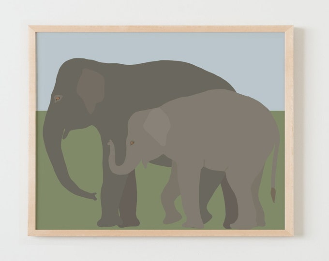Fine Art Print.  Elephants, Mother and Baby.  December 1, 2015.
