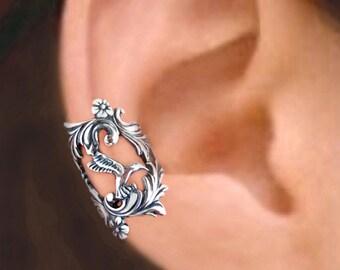 Hummingbird ear cuff Sterling Silver earrings Hummingbird jewelry handmade Hummingbird earrings Sterling silver ear cuff ear clip C-089.202