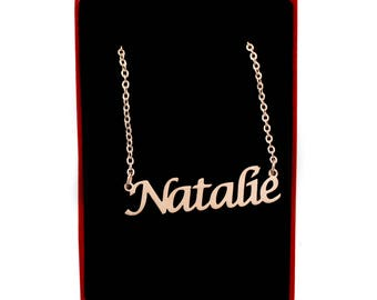 Natalie Name Necklace Stainless Steel/ 18ct Rose Gold Plated | Christmas Present