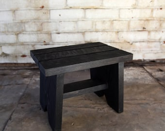 Blackened Classic Step Stool, Wood Stool, for Children, Family Home Decor Gift, Reclaimed Wood Bed Step Stool, Housewarming Peg and Awl