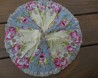 Vintage 1950s to 1960s Round Handkerchief Something Blue Retro Pink/White Flowers Fabric Collectible NOS Reusable Ladies/Women Accessory