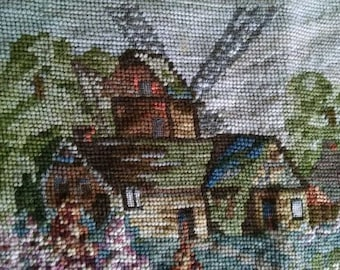 Vintage Needlepoint, Danish Village Design, Vintage Canvas, From a Barn Sale
