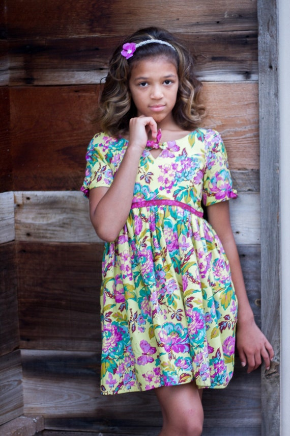 Girls Fall Floral Butterfly Dress - Back to School Dress