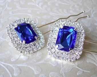 Lapis Blue Rhinestone Hairpin Hair Comb Bridesmaid Accessory Pageant Jewelry Ballroom Hairpiece Prom Headpiece Wedding Bridal Formal Pantone