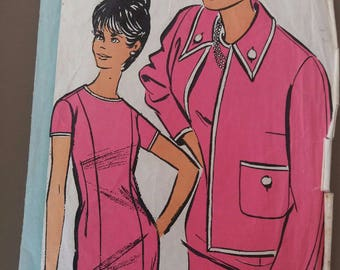 old vintage dress sheath mode Echo pattern and jacket