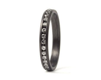 Women's carbon fiber eternity ring. Engagement ring with diamonds. Water resistant, very durable and hypoallergenic. (00117_3D)