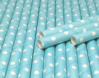 25 Light Blue with White Swiss Dots Paper Straws - Drinking Straw - Party Supplies
