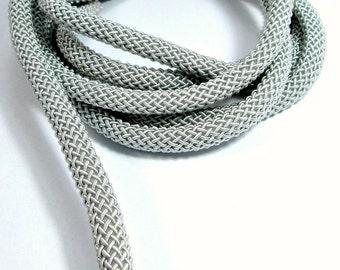 "Braided ""Larousse"" silk cord, 9mm grey thick cord, 1m"