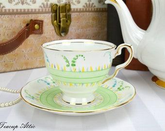 Royal Stafford Art Deco Teacup and Saucer Set, English Bone China, Tea Party, Wedding Gift, ca. 1950