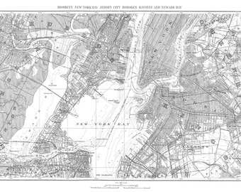 new york city map 1893 map of newark new york brooklyn vintage black and white print poster