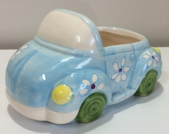 Convertible Car with Painted Flowers Planter Vase