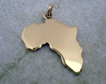 9ct Yellow Gold Africa Pendant (Plain)