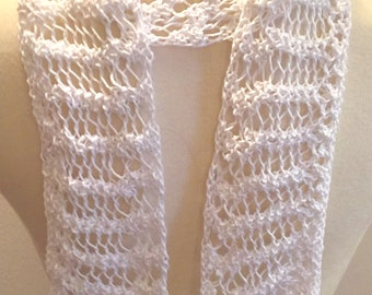 Long White Scarf, Lacy Cotton Scarf, Skinny Spring Scarf, Knit Summer Scarf, Lightweight Scarf, Long Lacy Scarf, Gift for Her, White Scarf