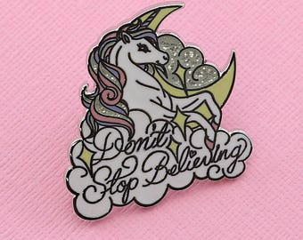 "Unicorn ""Don't Stop Believing"" Enamel Pin with Glitter // Unicorn pastel lapel pin/brooch/badge // EP245"