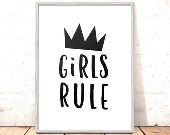 Girls Rule Print | Nursery Art | Art for Girls Room Kids Room | Scandi Nursery Print | Modern Nursery | Modern Art Kids Room Black White