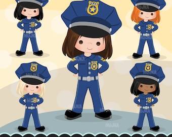 Cops, police officer clipart, Little girl clipart graphics, planner stickers, scrapbooking, digitized embroidery, commercial use, character