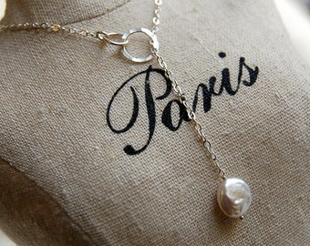 Lariat Style Sterling Silver Necklace with White Pearl