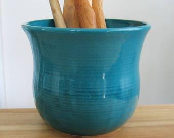 Ceramic Utensil Crock in Peacock Blue / Green, Pottery Kitchen Organizer, Utensil Caddy, Hand Thrown Stoneware Foodie Gift Chef Gift Storage