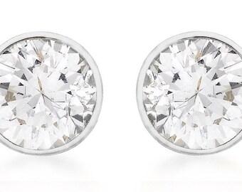 925 Sterling Silver Womens Round Cubic Zirconia Stud Earrings