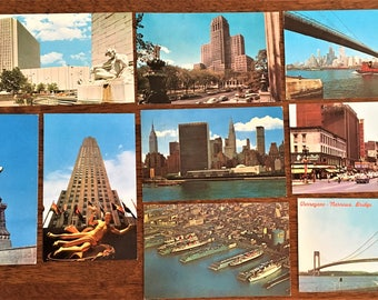 c.1960-1970s NEW YORK CITY Lot of *9*; Rockefeller Center, Ships at Dock; Statue of Liberty et al.; Some Posted; Some Near Mint