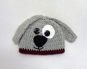Gray Puppy Dog Baby Hat, Crochet Dog Cap, MADE TO ORDER by Charlene, Baby Photo Prop, Gift for Baby Boy or Girl, Shower Gift for Dog Lover