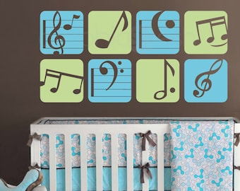 """Wall decal BOXED MUSIC NOTES Colorful vinyl art stickers decor for nursery boys & girls byGraphicsMesh (Set of 8 - 11"""" each)"""