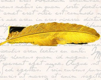 Ravens Feather Tie Clip Inlaid in Hand Painted Black Enamel Neo Victorian Crow Tieclip Neck Tie Bar Accent With Color Options