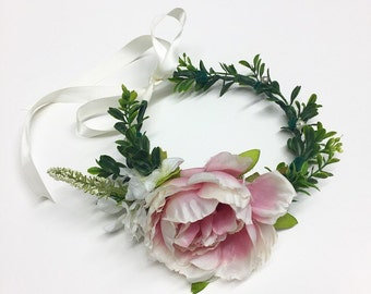 Pink Side Peony Baby/Toddler/Adult Flower Crown Halo with Ribbon