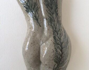 Ceramic Female Wall Sculpture fern design