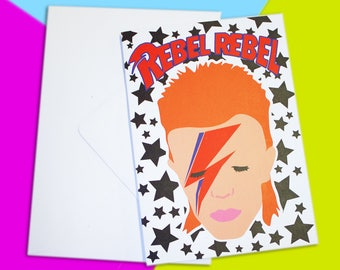 David Bowie Inspired Rebel Rebel A6 Blank Recycled Greetings Card - Birthday Black Star Ziggy Stardust Aladdin Sane Punk 70s Rock n Roll