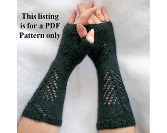 knit fingerless gloves pattern pine tree & cone, lace knit gloves instructions, knit gloves diy, autumn gloves pdf, fall knit gloves diy.