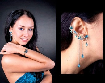 Blue ear cuffs with chains Elven ear cuffs Elegant ear wrap Non pierced earrings Dangling ear cuff no piercing Wire ear cuff