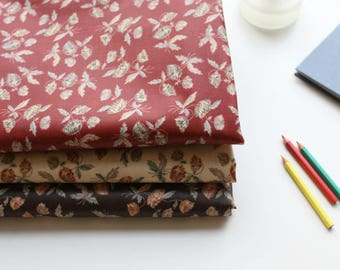 Flowers Laminated Cotton Fabric - Red, Beige or Brown - By the Yard 100980